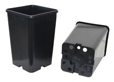 145mm Square 220mm Extra Deep Black Plastic UV Stabilized Garden Plant Pot x 50
