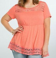 Torrid Crochet Babydoll Coral Lace Top Size 0X Large 12 0 #85545