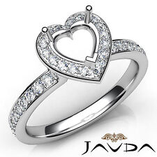 Heart Diamond Halo Pave Setting Semi Mount Engagement Ring 14k White Gold 0.45Ct