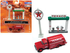 "1960 Ford Tank Truck Red with Service Gas Station ""Texaco"" 1/87 (HO) Scale Model"