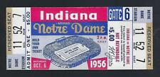 1956 NCAA  INDIANA HOOSIERS @ NOTRE DAME FIGHTING IRISH FOOTBALL FULL TICKET