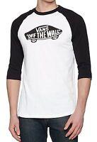 VANS Off The Wall Logo Mens Long Sleeve Raglan T-Shirt Print Top Tee Black White