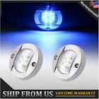 2x Round Marine Boat Led Courtesy Lights Blue Cabin Deck Starboard Stern Light