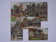 SET OF SIX JOTTER SIGNED TUCK POSTCARDS - OLD TIMBERED HOUSES - OILETTE No. 9413