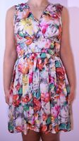 Warehouse Silk Floral Pink Green Dress Holiday Cruise Smart Summer Size 10 12 AD