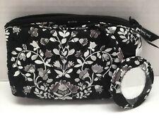 Vera Bradley Mirror Cosmetic Case In CHANDELIER NOIR   W/ Mirror Attached NWT