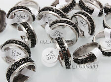20pcs Wholesale Lots Stainless Steel Black Chain Spinner Men Ring SZ17-21mm