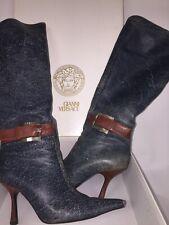 41a508e8c621 Gianni Versace leather denim color knee high boots size EU 38