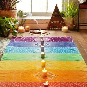 Chakra Rainbow Meditation Reiki Yoga Wall/Door Hanging Blanket,Throw 5 Styles UK