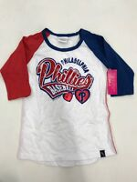 MLB Team Apparel Philadelphia Phillies Red Blue 3/4 Sleeve Girls Sample 7/8 Nice