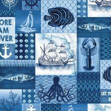 Nautical Fabric - Indigo Coastal Ship Fish Patch Blue & White - Studio E YARD