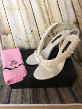 Nina Ivory Strappy Bridal Shoes 9M Flat Ruffle Detail Satin