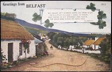 Irish Postcard GREETINGS FROM BELFAST Eva Brennan Village Poem Novelty 12 Views