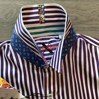ROBERT GRAHAM STRIPED COTTON STRECH LIMITED MODERN COMFORT FIT MENS HEMD SHIRT M