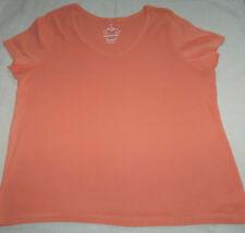 Ladies Size 22 - 24 Evans East Coast short sleeve tangerine top 100% cotton
