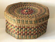 Vintage Red Green Blue Dyed Hand Woven Octagon Sewing Trinket Basket Folk Art