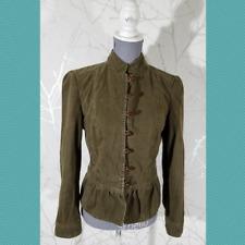 Zara Basic Olive Green Mandarin Collar Button Front Jacket | Women's M