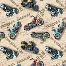 BLANK Quilting American Dream-Route 66 American Motorcycle moto tessuto-Avorio