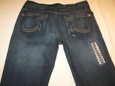 Rock & Republic Roth Jeans Low Flare Dark Blue Distressed Sz 29 NEW