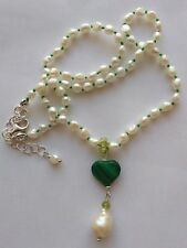 Collana girocollo perle barocca goccia cuore Malachite Peridoto Argento 925
