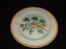 "Antique 19thc. Leeds Soft Paste Peafowl on Branch Plate, 9-3/4"" diameter (j)"