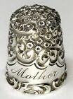 Antique Simons Bros  Sterling Silver Thimble   Chased Scrolls   Etched  Mother