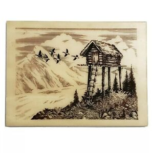 The Alaska Mint Cabin on Stilts Etching Picture by Bill DeVine 1982 Geese 4½x6