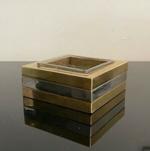 Willy Rizzo Brass and Chrome Catchall / Dish / Ashtray 1970s Authentic Rare MCM