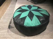 Stunning Turkish Leather Ottoman Pouffe Pouf Footstool In Black + Mint