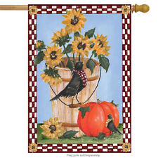 "Autumn Crows Floral House Flag Pumpkin Sunflowers Briarwood Lane 28"" x 40"""