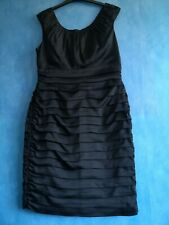 Coast Black Sleeveless Knee Length Tiered Ruched Cocktail Dress Size 14