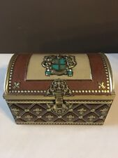 Vintage Tin Metal Royal Treasure Chest Made in Germany Gold Brown