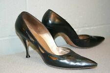 7 AAA Black CutOut Sides Vtg 1950s Carmelletes DeLuxe Spike Heel Pin Up Shoe 50s