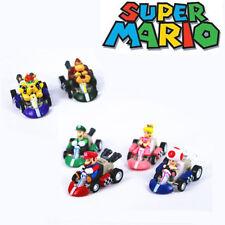 Super Mario Kart Luigi Four Wheels Pull Back Car 6 Pcs Action Figure Kids Toy