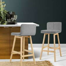 2 Piece Kitchen Bar Stools Wooden Bar Stool Chairs Barstools Fabric Grey 67CM