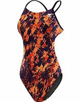 TYR Womens Swimwear Navy Orange Size 32 Abstract Cutout One Piece $80 486