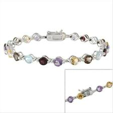 Sterling Silver Genuine Multi Gemstone Tennis Bracelet