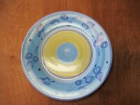 "Caleca Italy AZZURRO Dinner Plate 11 1/4"" Blue & Yellow Leaves 1 ea  1 available"