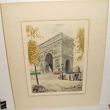 "LEANDRI ""ARC DE TRIOMPHE PARIS"" ORIGINAL HAND COLORED OLD ETCHING"