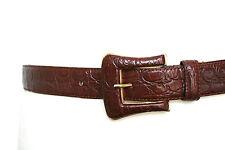 S/M - Dark tan embossed cowboy style vintage leather belt