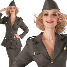 WW1 1910s Army Girl Soldier Uniform Ladies Officer Fancy Dress Costume