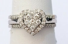Heart Diamonds Ring Set Bridal Engagement Wedding Band White Gold with Two Bands