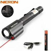 Nicron Red Laser Pointer Repairing LED Penlight Rechargeable 10840 Flashlight