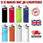 3 x MAXI J6 BIC LIGHTERS SET LARGE CLASSIC SIZE DESIGN GAS CIGARETTE FLINT WHEEL