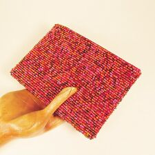 """6"""" Red Pink Multi Color Handmade Beaded Zippered Coin Purse Wallet"""