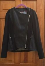 Ted Baker Black Leather & ponte Moto collarless jacket Size Medium M