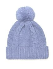 Blue Pom Pom Hat For Women-Bobble Beanie Cable Knitted Hat Wooly Warm Winter Cap