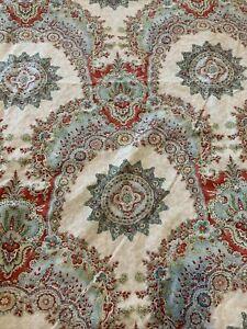 Pottery Barn King Duvet Cover Medallion  Floral Red Green Blue White Euc