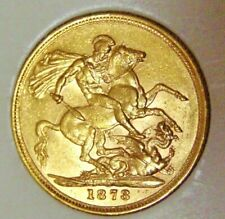 Australia 1873 'S' Sydney Mintmark Gold 22ct Sovereign Coin Young Queen Victoria