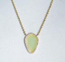 New $198 MARCIA MORAN Chalcedony Pave CZ Crystal 18k YG Pendant Necklace